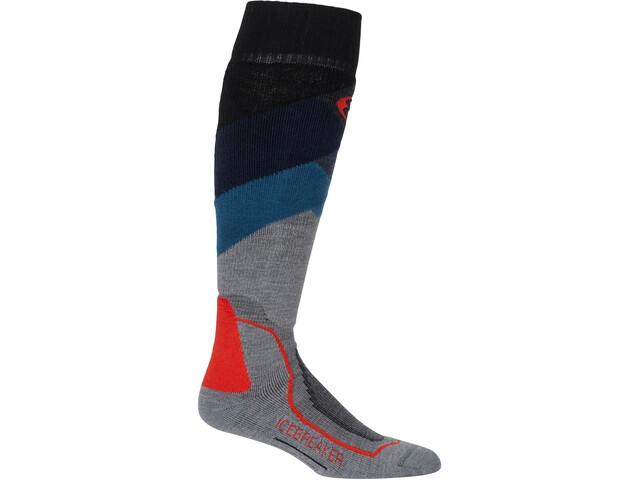 Icebreaker OTC Medium Ski Socks Men glades/twister heather/fathom heather/chili red
